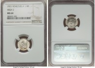 "Republic 1/4 Bolivar 1921 MS64 NGC,  Philadelphia mint, KM-Y20. High ""2"" Variety. Blast white with an ultra-sharp rendering of detail and a tinge of g..."