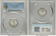 "Republic 1/4 Bolivar 1921 MS64 PCGS, KM-Y20. Also valued at 25 Centimos. Variety with low ""2"". A scarce type. Only a single example grades higher at P..."