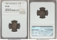 Republic 1/2 Bolivar 1887 XF40 NGC, KM-Y21. A highly collectible Latin American minor that is not often encountered in any condition. Old collection t...