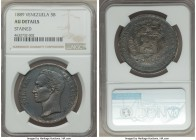 Republic 5 Bolivares 1889 AU Details (Stained) NGC, Caracas mint, KM-Y24.1. Exceedingly rare with only three specimens being seen at auction within th...