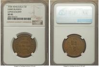 Cabo Blanco. Leper Colony brass 5 Bolivares Token 1936 XF45 NGC, KM-L16. Struck for use among patients at the former Hospital de Lazarinos leprosarium...