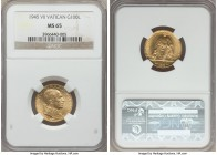 Pius XII gold 100 Lire 1945 Anno VII MS65 NGC, KM39. Nearly flawless and highly reflective fields. One small deposit noted at 1:00 on the reverse for ...