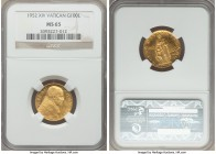 Pius XII gold 100 Lire 1952 Anno XIV MS65 NGC, KM53.1. Mintage: 1,000. With such a low mintage, it is difficult to find this type in Gem Mint State co...