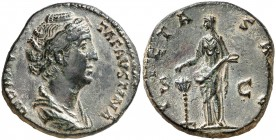 (141 d.C.). Faustina madre. As. (Spink 4655) (Co. 241 var) (RIC. 1192A). 11,34 g. EBC-.