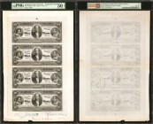 ARGENTINA. Banco Nacional. 10 Pesos, 1883. P-S679. Sheet of 4 Progressive Proofs and a Vignette.