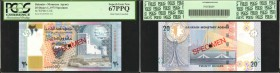 BAHRAIN. Monetary Agency. 1 to 20 Dinars, 1973. P-UNL. Specimens. PCGS Currency Superb Gem New 67 PPQ.
