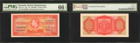 BERMUDA. British Administration. 10 Shillings, 1947. P-15. PMG Gem Uncirculated 66 EPQ.