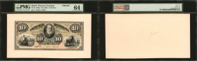 BRAZIL. Thesouro Nacional. 10 Mil Reis, ND (1883). P-A258p. Proofs. PMG Choice Uncirculated 64 and Choice Uncirculated 64 EPQ.