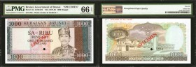 BRUNEI. Government of Brunei. 1000 Ringgit, ND (1979-86). P-12s. Specimen. PMG Gem Uncirculated 66 EPQ.