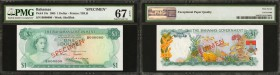 BAHAMAS. Government of the Bahamas. 1 Dollar, 1965. P-18a & P-18s Specimen. PMG Superb Gem Uncirculated 67.