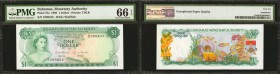 BAHAMAS. Bahamas Monetary Authority. 1 Dollar, 1968. P-27a. PMG Gem Uncirculated 66 EPQ.