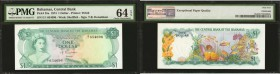 BAHAMAS. Central Bank of the Bahamas. 1 Dollar, L. 1974. P-35a. PMG Choice Uncirculated 64 EPQ.