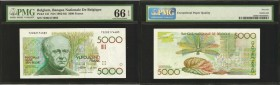 BELGIUM. Banque Nationals de Belgique. 5000 Francs, ND (1982-92). P-145. PMG Gem Uncirculated 66 EPQ.