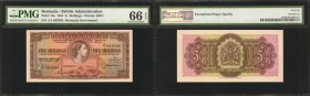 BERMUDA. British Administration. 5 Shillings, 1952. P-18a. PMG Gem Uncirculated 66 EPQ.