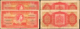 BERMUDA. Bermuda Government. 10 Shillings, 1952. P-19a & 19b.