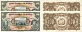 BOLIVIA. Banco Central de Bolivia. 100 Bolivianos, 1928. P-125a. Choice Uncirculated.