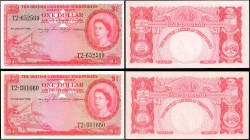 BRITISH CARIBBEAN TERRITORIES. Currency Board of the British Caribbean Territories. Lot of (2) 1 Dollar, 1956. P-7b. Very Fine, and Choice About Uncir...
