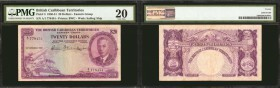 BRITISH CARIBBEAN TERRITORIES. Currency Board of the British Caribbean Territories. 20 Dollars, 1950-51. P-5. PMG Very Fine 20.