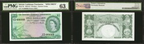 BRITISH CARIBBEAN TERRITORIES. British Caribbean Territories, Eastern Group. 5 Dollars, 1964. P-9s. Specimen. PMG Choice Uncirculated 63.
