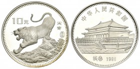 China. 10 yuan. 1986. (Km-137). Ag. 14,87 g. Año del tigre. PROOF. Est...220,00.