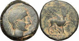 Hispania. Castulo. AE As, 2nd century BC. D/ Head of a young male right, diademed; before, hand. R/ Sphinx standing right. SNG Cop. 211-212. AE. g. 16...