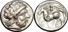 Celtic World. Celtic, Middle-Lower Danube, Syrmia. The Skordoski. AR Tetradrachm, imitation of Philip II of Macedon, first half of 3rd cent. AD. D/ He...