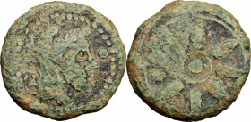 Etruria. Coastal Etruria, Vetulonia. AE Uncia, 300-250 BC. D/ Male head right; to right, pellet. R/ Wheel of eight spokes, between two spokes, pellet....