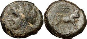 Greek Italy. Samnium, Southern Latium and Northern Campania, Cales. AE, 265-240 BC. D/ Head of Apollo left, laureate. R/ Man-headed bull right; above,...
