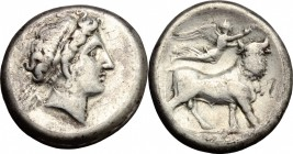 Greek Italy. Central and Southern Campania, Neapolis. AR Didrachm, 420-400 BC. D/ Female head right, wearing wreath. R/ Man-headed bull standing right...
