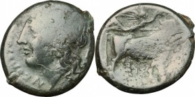 Greek Italy. Central and Southern Campania, Neapolis. AE, 275-250 BC. D/ Head of Apollo left, laureate. R/ Man-headed bull right; above, Nike flying. ...