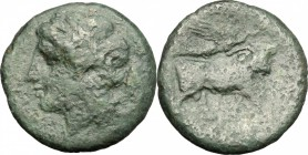 Greek Italy. Central and Southern Campania, Neapolis. AE 275-250 BC. D/ Head of Apollo left. R/ Man-headed bull right; above, Nike flying. HN Italy 59...