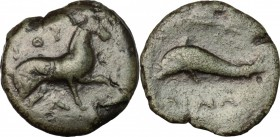 Greek Italy. Northern Apulia, Salapia. AE, 275-250 BC. D/ Horse right. R/ Dolphin left; above, trident. HN Italy 686 var. (dolphin right). AE. g. 4.58...