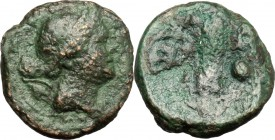 Greek Italy. Lucania, Poseidonia-Paestum. AE Onkia, 264-241 BC. D/ Head of Artemis right; over shoulder, bow and quiver. R/ Corn-ear; to left, pellet....