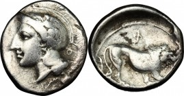 Greek Italy. Northern Lucania, Velia. AR didrachm, 390-250 BC. D/ Head of Athena left, helmeted. R/ Lion standing right. HN Italy 1284. AR. g. 5.97 mm...