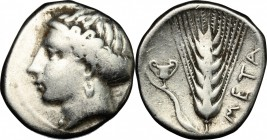 Greek Italy. Southern Lucania, Metapontum. AR Stater, 400-340 BC. D/ Head of Demeter left, hair bound in sphendone. R/ Barley-ear; to left, kantharos....