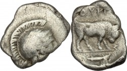 Greek Italy. Southern Lucania, Thurium. AR Triobol, c. 443-400 BC. D/ Head of Athena right, wearing Attic helmet decorated with hippocamp. R/ Bull cha...