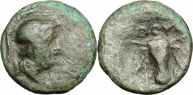 Greek Italy. Southern Lucania, Thurium. AE, after c. 300 BC. D/ Head of Athena right, helmeted. R/ Bucranium. HN Italy 1922. AE. g. 1.06 mm. 10.50 F.