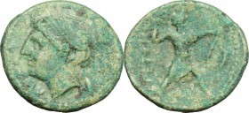 Greek Italy. Bruttium, Brettii. AE half, about 215 BC. D/ Head of Nike left, diademed. R/ Zeus striding right; hurling thunderbolt and holding scepter...