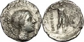 Greek Italy. Bruttium, The Brettii. AR Drachm, c. 216-214 BC. D/ Bust of Nike right, diademed, draped; Uncertain symbol behind. R/ River god standing ...