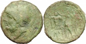 Greek Italy. Bruttium, Brettii. AE double, 214-211 BC. D/ Head of Ares left, helmeted. R/ Nike standing left, crowning trophy and holding palm. HN Ita...