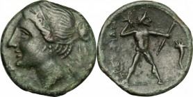 Greek Italy. Bruttium, The Brettii. AE Half, 214-211 BC. D/ Head of Nike left, diademed. R/ Zeus striding right; hurling thunderbolt and holding scept...