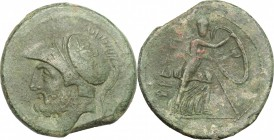Greek Italy. Bruttium, The Brettii. AE double, 211-208 BC. D/ Head of Ares left, helmeted. R/ Athena moving right; holding spear and large shield. HN ...