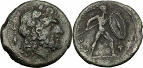 Greek Italy. Bruttium, The Brettii. AE unit, c. 211-208 BC. Fourth coinage. D/ Head of Zeus right, laureate; thunderbolt behind. R/ Warrior advancing ...
