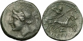 Greek Italy. Bruttium, Brettii. AE half, c. 211-208 BC. D/ Winged bust of Nike right; below, sceptre (?). R/ Zeus driving biga right; below, plough. H...