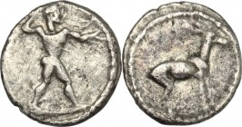 Greek Italy. Bruttium, Kaulonia. AR 1/6 Stater, 475-425 BC. D/ Apollo advancing right. R/ Stag standing right. HN Italy - . Cf Noe 220 ff. AR. g. 1.14...