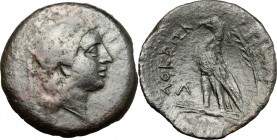 Greek Italy. Bruttium, Locri. AE, 287-278 BC. D/ Head of Persephone right, diademed; behind, torch. R/ Eagle standing left on thunderbolt; behind, pal...