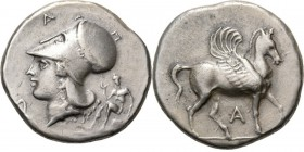 AR Stater ca 360–338 BC, Epirus, AMBRAKIA Pegasus right, A below. Rev. Athena wearing Corinthian helmet left, at the front a serpent coiled to a turtl...