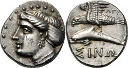 AR Drachm ca. 330 BC., Paphlagonia, SINOPE Head of nymph Sinope left with hair in sphendone, wearing necklace and earring. Rev. sea-eagle left on dolp...
