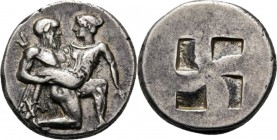 AR Stater ca. 480–463 BC, Thracian Kingdom, THASOS Naked satyr seizing nymph by her wrist. Rev. quadripartite incuse square.Vgl. SNG Cop. 1010.8.72 g....