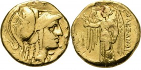 AV stater n.d, ALEXANDER III the Great 336–323 BC, Macedonian Kingdom Amphipolis. Head of Athena right, wearing crested Corinthian helmet. Rev. Nikè s...